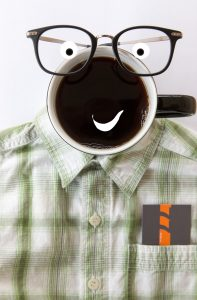 Make your business more marketable. Image of a coffee mug turned into a smiling face.
