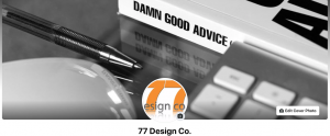 Screen shot image of the 77 Design Co Facebook page with orange logo. Using creativity in marketing.